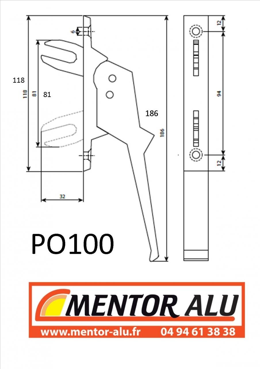 Mentor Alu Pvc Stores Poignée Fourche Samua Adaptable Samu 2