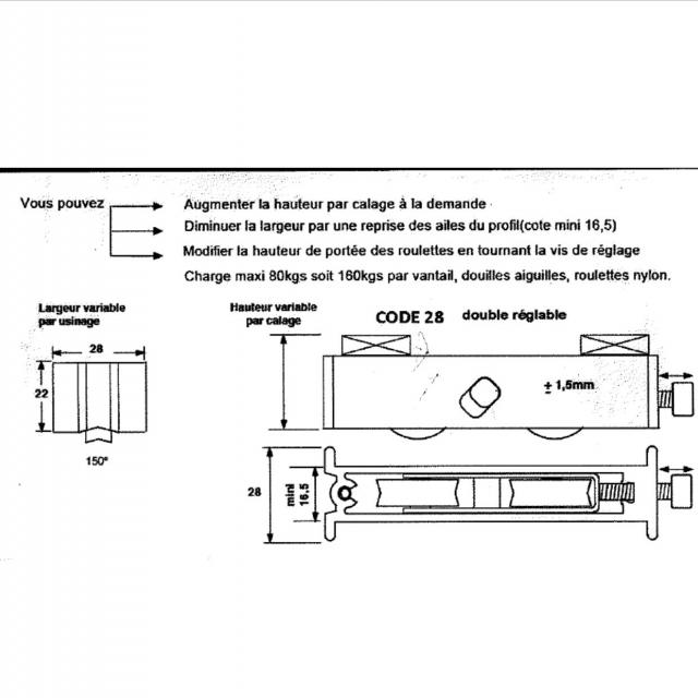 Roulette baie coulissante  rénovation  toutes marques petit modèle largeur 17 mm  à 28 mm Hauteur 22mm 2