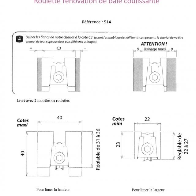 Roulette rénovation de baie coulissante  KIT DE 2 5