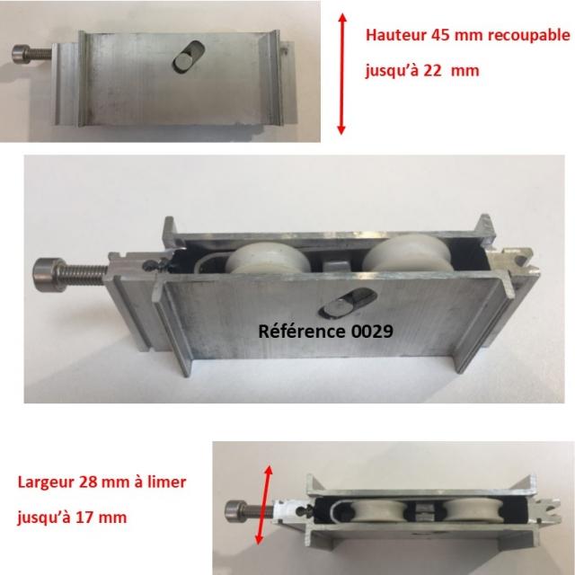 Galet roulette  rénovation  toutes marques grand  modèle largeur 17 mm  à 28 mm Hauteur 45 mm recoupable jusqu'à 22 mm en hauteur 1