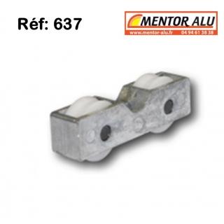 Roulette galet pour baie coulissante  L 15 mm x 16 mm. La plus petite