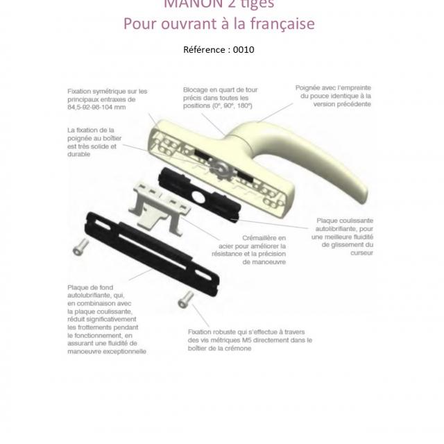Manon 2 tiges 873  G  POUR OUVRANT A LA FRANCAISE 3