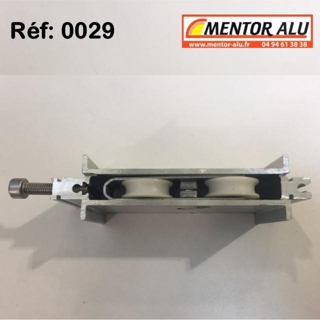 Galet roulette  rénovation  toutes marques grand  modèle largeur 17 mm  à 28 mm Hauteur 45 mm recoupable jusqu'à 22 mm en hauteur 3