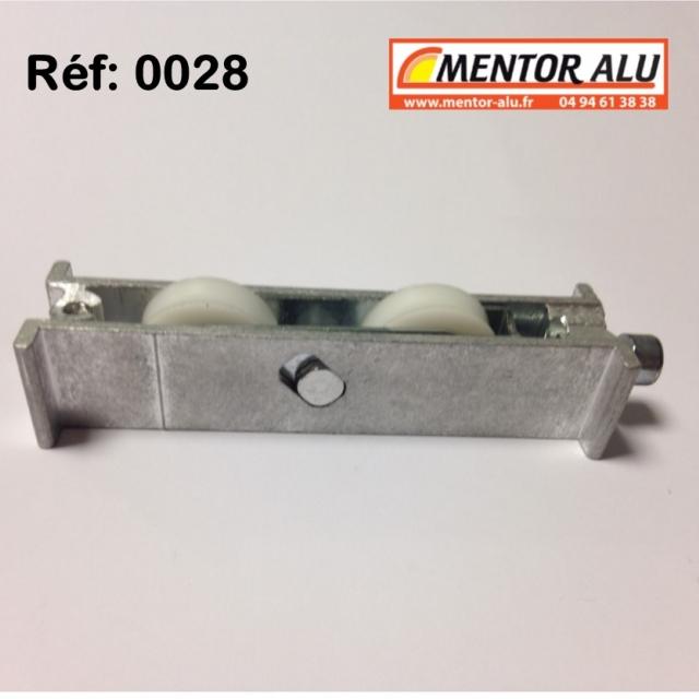 Roulette baie coulissante  rénovation  toutes marques petit modèle largeur 17 mm  à 28 mm Hauteur 22mm 3