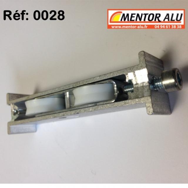 Roulette baie coulissante  rénovation  toutes marques petit modèle largeur 17 mm  à 28 mm Hauteur 22mm 4