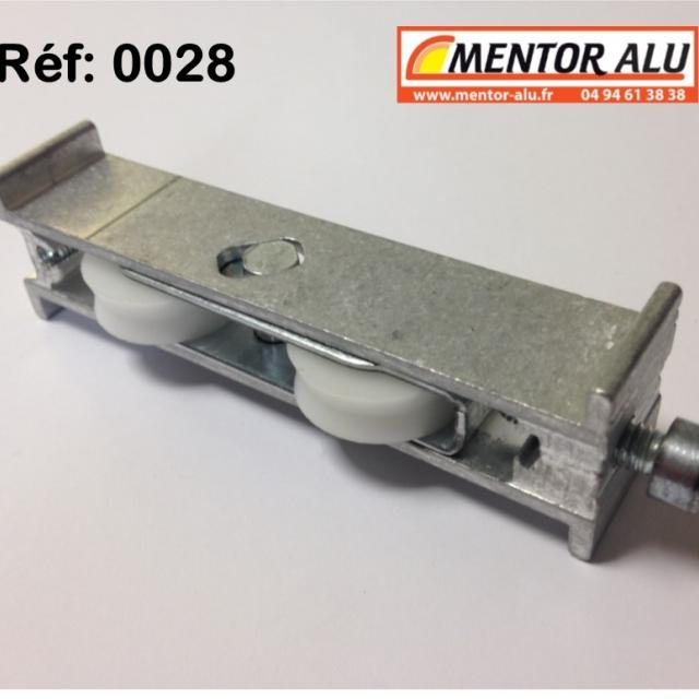 Roulette baie coulissante  rénovation  toutes marques petit modèle largeur 17 mm  à 28 mm Hauteur 22mm 5