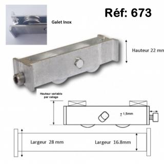 Roulette inox de baie coulissante  rénovation  toutes marques petit modèle largeur 17 mm  à 28 mm Hauteur 22mm Roulettes INOX