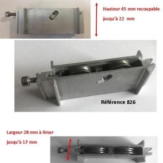 Roulette INOX  de baie coulissante  rénovation  toutes marques largeur 16.8 mm  à 28 mm Hauteur 45mm