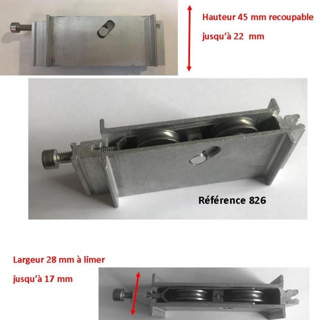 Roulette INOX  de baie coulissante  rénovation  toutes marques largeur 16.8 mm  à 28 mm Hauteur 45mm  1