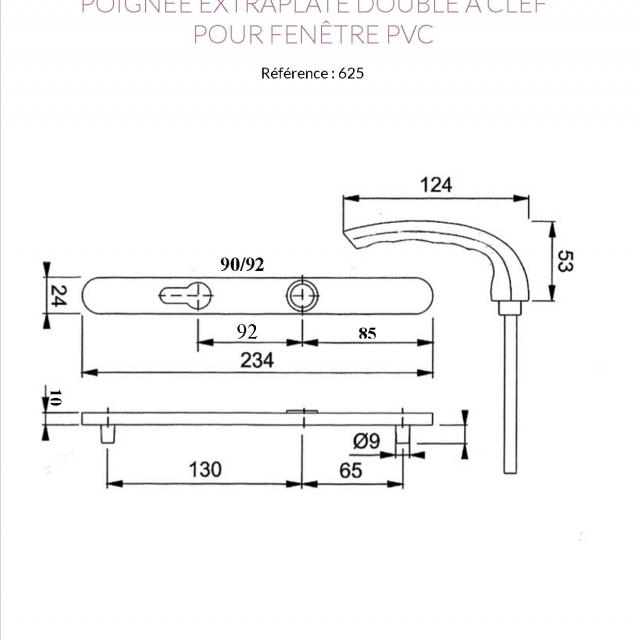 Poignée EXTRA PLATE double à clef fenêtre PVC 4