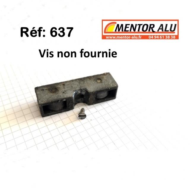 Roulette galet pour baie coulissante  L 15 mm x 16 mm. La plus petite 3