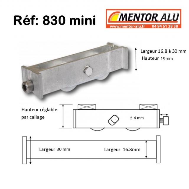 Roulette baie coulissante  rénovation  toutes marques petit modèle largeur 16.8 mm  à 30 mm Hauteur 19 mm 1