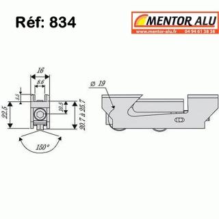 Roulette /Galet de baie coulissante largeur 16 mm
