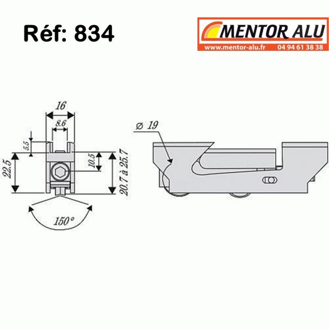 Roulette /Galet de baie coulissante largeur 16 mm 1