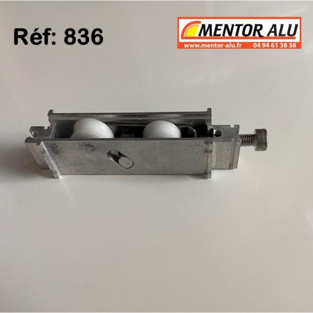 Galet roulette pour baie vitrée coulissante 20 mm L x 24 h rénovation recoupable 2