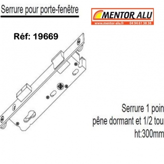 Serrure de porte  SAPA 1 point 1/2 tour