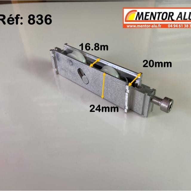Galet roulette pour baie vitrée coulissante 20 mm L x 24 h rénovation recoupable 1
