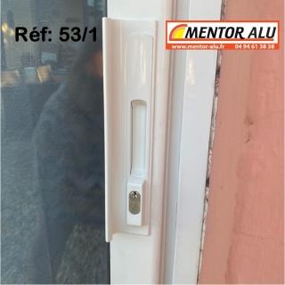Serrure de baie vitrée coulissante à clé avec poignée - rénovation -