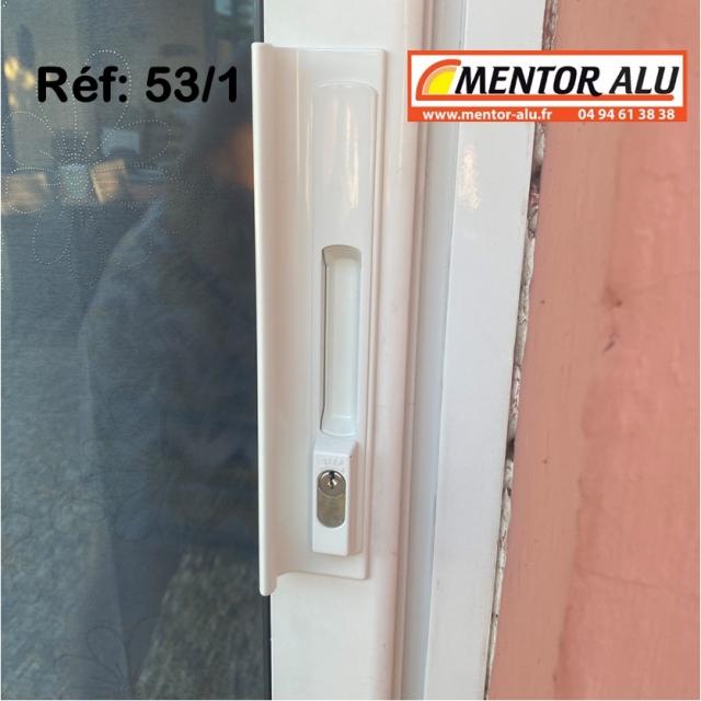 Serrure de baie vitrée coulissante à clé avec poignée - rénovation - 1