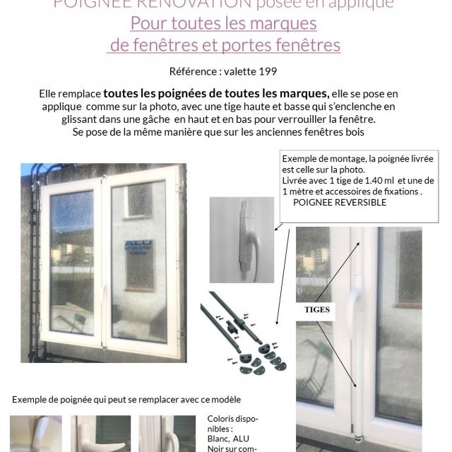 Poignée de fenêtre alu adaptable toutes marque rèf : VALETTE 2
