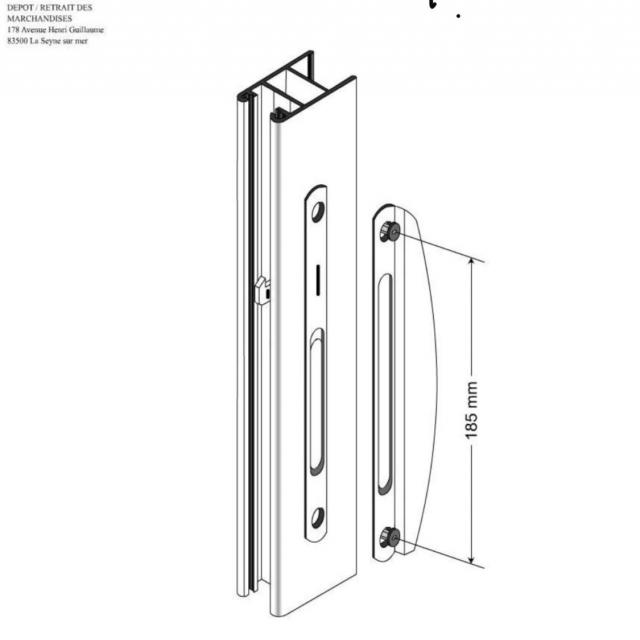 Poignée de tirage pour et baie vitrée coulissante technal  2