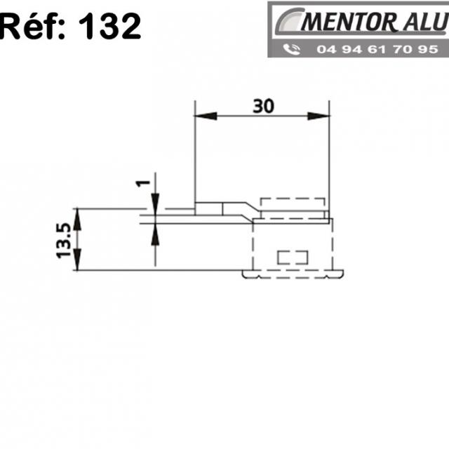 Pêne crochet 132 pour serrure savio 51 -52-53 2