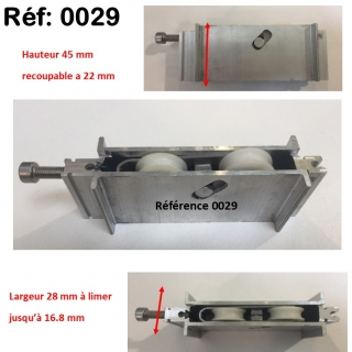 Galet roulette  rénovation  toutes marques grand  modèle largeur 17 mm  à 28 mm Hauteur 45 mm recoupable jusqu'à 22 mm en hauteur